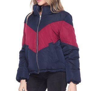 Color Block Retro Puffer Jacket
